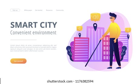 A blind man crossing the street with smart tags and voice notifications around. Barrier-free convenient environment as IoT and smart city concept, violet palette. Website landing web page template.