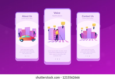 A blind man crossing the street with smart tags and voice notifications around. Barrier-free convenient environment as IoT and smart city concept, violet palette. UI UX GUI app interface template.