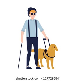 Blind man and guide dog isolated on white background. Guy with blindness, visual impairment or vision loss and service or assistance animal. Colorful vector illustration in flat cartoon style.