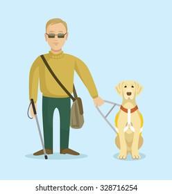 Blind man with guide dog. Vector flat illustration