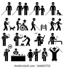 Blind Man Handicap Stick Figure Pictogram Icons