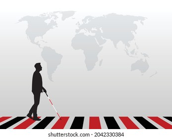 Blind man walking at crossing holding a stick. It can use for White Cane Safety Day, World Sight Day, Blind or Retina Day, etc. Vector isolated illustration.
