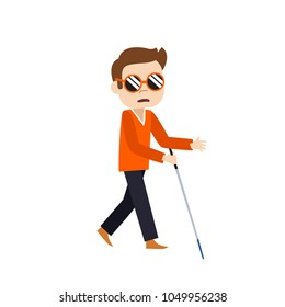 Blind man walking with stick flat illustration