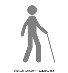 Blind man with walking stick. Vector icon.