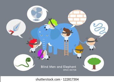 blind men and elephant. vector