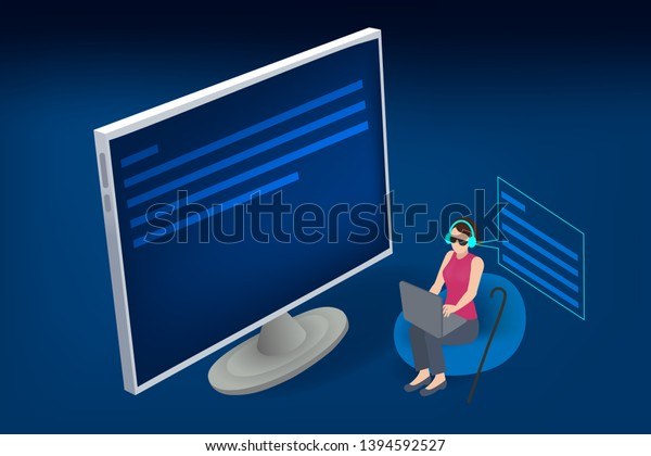 Blind person using computer with braille computer display and a computer keyboard. Blindness aid, visual impairment.