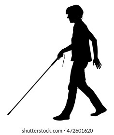 Blind person walking with stick vector silhouette illustration.