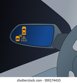 Blind Spot Monitoring in side mirror of vehicle, image illustration