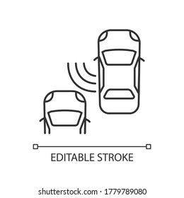 Blind spot monitoring system pixel perfect linear icon. Safe driving, car security, traffic safety thin line customizable illustration. Contour symbol. Vector isolated outline drawing. Editable stroke