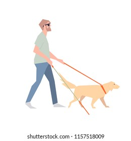 Blind with a stick. The blind man walks beside the dog with a guide. A blind person walks along the street.