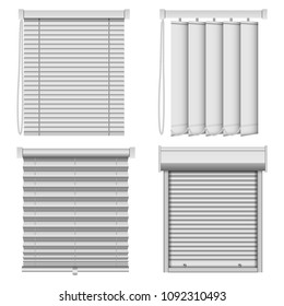 Blind window curtains mockup set. Realistic illustration of 4 blind window curtains mockups for web