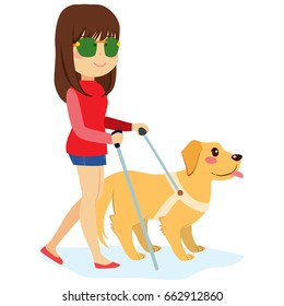 Blind woman walking with guide dog and walking stick