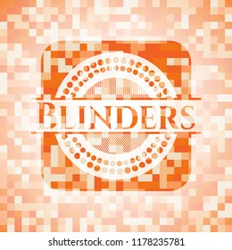 Blinders abstract emblem, orange mosaic background