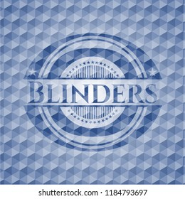 Blinders blue badge with geometric background.
