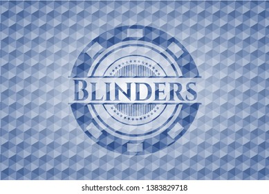 Blinders blue badge with geometric pattern background. Vector Illustration. Detailed.