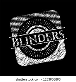 Blinders chalk emblem written on a blackboard