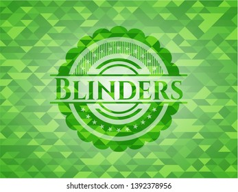 Blinders green emblem with mosaic ecological style background. Vector Illustration. Detailed.
