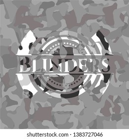 Blinders grey camouflaged emblem. Vector Illustration.