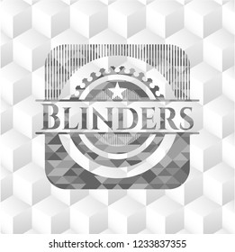 Blinders grey emblem. Vintage with geometric cube white background