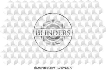 Blinders grey emblem. Vintage with geometric cube white background