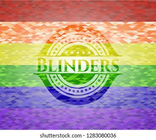 Blinders on mosaic background with the colors of the LGBT flag