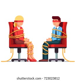 Blindfold business man and woman with rope tied hands & foots sitting on office chairs. Metaphor of professional challenges & difficulties in a career. Flat style vector illustration isolated on white