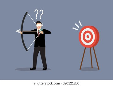 Blindfold businessman look for target in wrong direction. Business concept