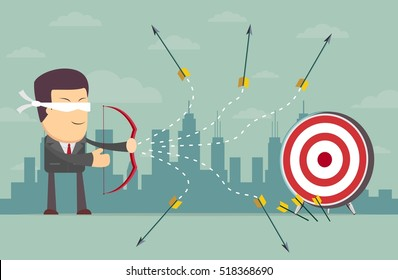 Blindfold businessman - loser shooting arrow . Stock vector illustration