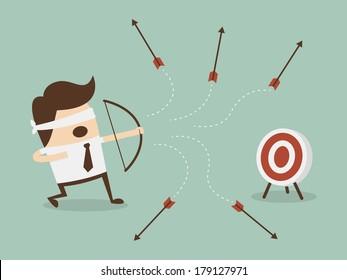 Blindfold businessman shooting arrow