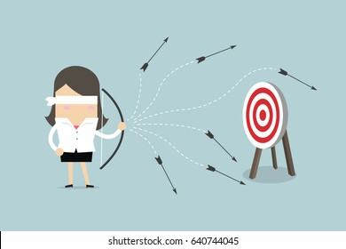 Blindfold businesswoman with bow and arrow misses the target. vector
