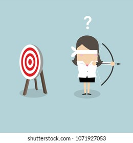Blindfold businesswoman holding bow and arrow look for target in wrong direction. vector