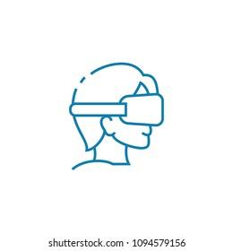 Blindfold games linear icon concept. Blindfold games line vector sign, symbol, illustration.