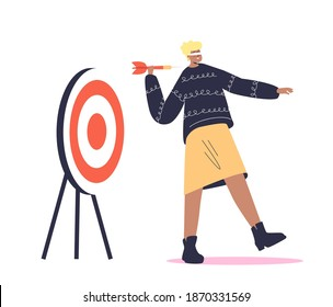 Blindfold woman holding arrow and looking to target in wrong direction. Wrong decision concept. Cartoon female character with folded eyes. Flat vector illustration
