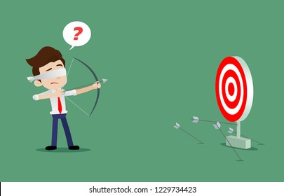 Blindfolded businessman is trying to use bow and arrow for archery but misses the target, Cartoon vector illustration