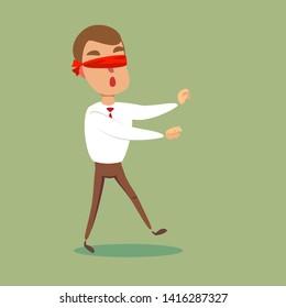 blindfolded cartoon man. Business concept. Stock flat vector illustration.