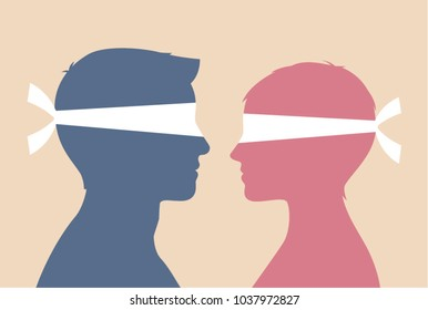 Blindfolded couple as a concept of blind date or relationship communication problems. Eps10.