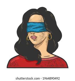 blindfolded girl color sketch engraving vector illustration. T-shirt apparel print design. Scratch board imitation. Black and white hand drawn image.