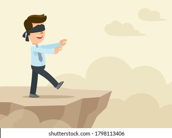 A blindfolded young businessman walks along the edge of the abyss. Risky and dangerous business. Vector illustration, flat design, cartoon style.