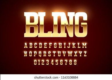 Bling style gold font design, alphabet letters and numbers vector illustration