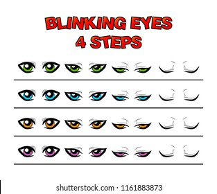 blinking eyes steps vector preset for character animation design isolated on white