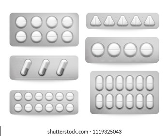 Blister 3D packs white paracetamol pills, aspirin capsules, antibiotics or painkiller drugs sign. Prescription medicine cure round capsule pill tablets. Pharmacy packing realistic isolated vector set
