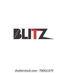 BLITZ letter with lightning storm logo design vector