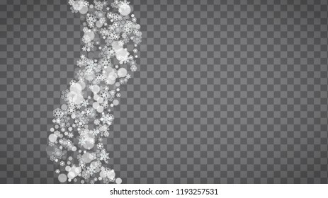 Blizzard snowflakes on transparent grey background. Winter sales, Christmas and New Year design for party invitation, banner, sale. Horizontal winter window. Magic snowflakes. Silver blizzard flakes