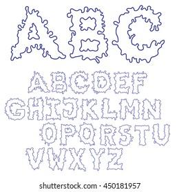 Blob Ink Font. Outline hand drawn sketch font. Blue alphabet set. EPS 8