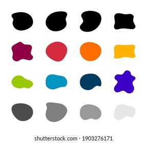 Blob formt Vektorset. Organische abstrakte Sammelhefte mit abstrakten Logen. Inkblot einfache Silhouette. Farbe, Schwarz-Weiß-Mindestformulare einzeln auf weißem Hintergrund