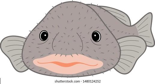 Blobfish New Year's Deer Deep Sea Fish Character Vector Illustration