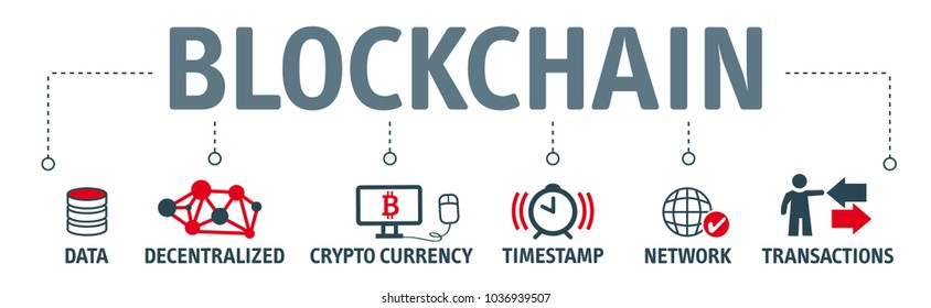 Block chain banner crypto currency concept vector illustration with icons