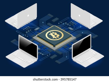 Block chain concept. Bitcoin mining equipment.  Flat 3d isometry isometric online-mining-bitcoin concept.