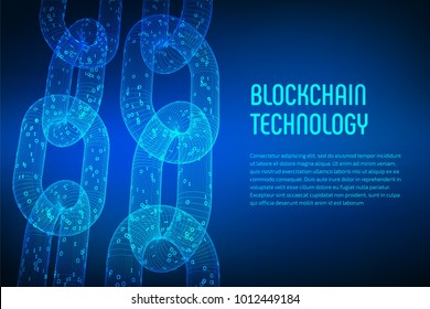 Block chain. Crypto currency. Blockchain concept. 3D wireframe chain with digital code. Editable cryptocurrency template. Stock vector illustration