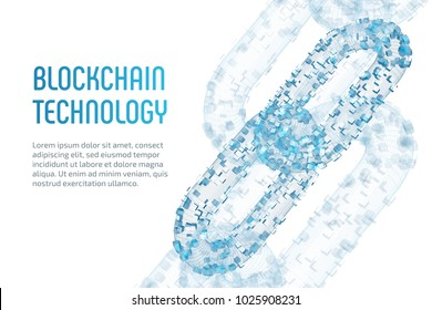 Block chain. Crypto currency. Blockchain concept. 3D wireframe chain with digital blocks. Editable cryptocurrency template. Stock vector illustration.